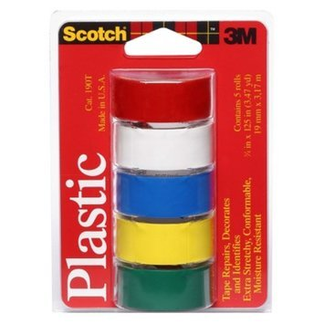 3M Scotch Assorted Colors Plastic Tape Rolls 5-ct.