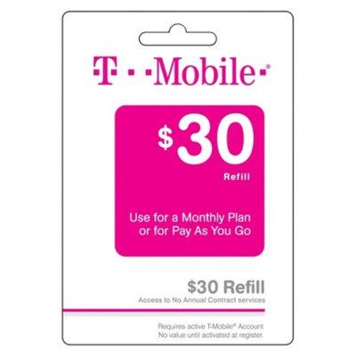 T-Mobile $30 Prepaid Refill Card