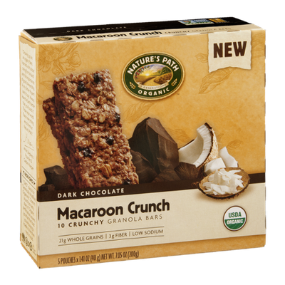 Nature's Path Organic Dark Chocolate Granola Bars Macaroon Crunch - 10 CT