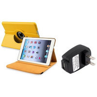 Insten iPad Mini 3/2/1 Case, by INSTEN Yellow 360 Leather Case Cover+Travel Charger for iPad Mini 3 2 1