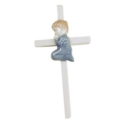 Elegant Baby Hand Painted Wall Hanging Porcelain Cross Boy (Discontinued by Manufacturer)