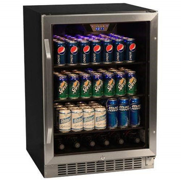 EdgeStar 148 Can Stainless Steel Beverage Cooler - Black/Stainless Steel