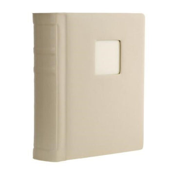Flashpoint Bella Book Bound Album, Holds 24 5x7 Photos, with Window, Color: Ivory Pages, Ivory Cover with Gold Foil and Gold Metal Edged.