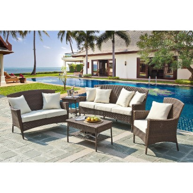 Panama Jack Key Biscanye 5-Piece Wicker Patio Conversation Furniture