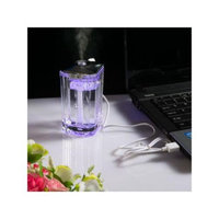 Agptek USB Mini Changing Color LED Crystal Water Glass Humidifier Mist Portable Ultrasonic Room Humidifier