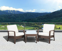 Atantic Atlantic Santorini Deluxe 3 Piece Brown Synthetic Wicker Patio Seating Set With Off-White Cushions