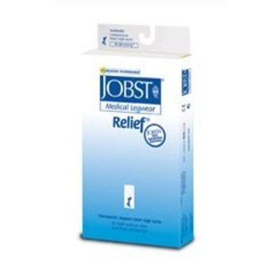 Jobst Relief 15-20 mmHg Closed Toe Thigh High Support Sock with Silicone Top Band Size: X-Large, Color: Black