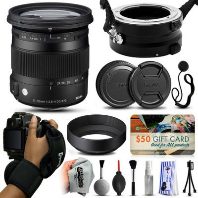 47th Street Photo Sigma 17-70mm F2.8-4 DC Macro OS HSM C Lens for Nikon (884306) with Exclusive Dual Lens Holder/Flipper + Wrist Strap + Cap Keeper + Deluxe Lens Cleaning Kit + $50 Gift Card for Prints