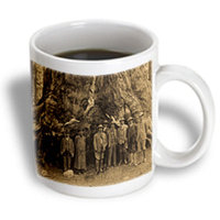Recaro North 3dRose - Scenes from the Past Stereoviews - Teddy Roosevelt and John Muir Beneath a Redwood Tree Sepia - 15 oz mug