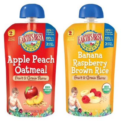 Earth's Best Stage 2 Fruit n Grain Pouch Variety Pack - 4.2oz (2x 6