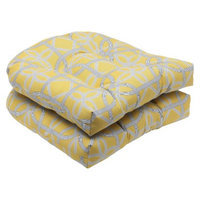 Pillow Perfect Outdoor 2-Piece Wicker Seat Cushion Set - Yellow/Gray Keene