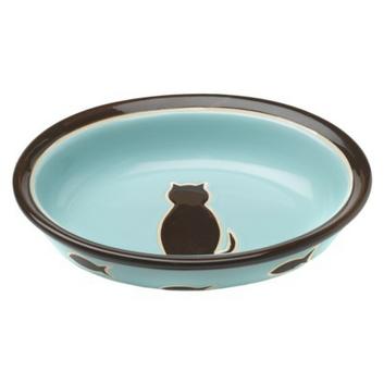 Boots & Barkley 1-Cup Cat Ceramic Bowl - Blue/Pink