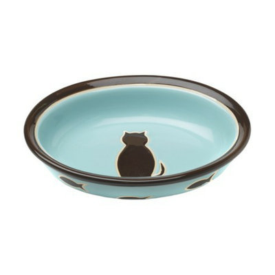 Boots & Barkley 1-Cup Cat Ceramic Bowl - Blue/Pink