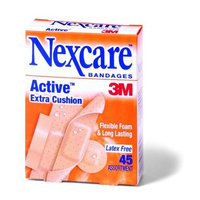 Nexcare Bandages Active Extra Cushion, Flexible Foam, Latex Free, Assorted Sizes, 45-Count Boxes (Pack of 6)