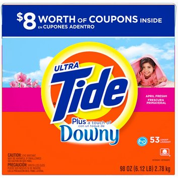 Tide Ultra  Plus a Touch of Downy April Fresh HE Powder Laundry Detergent