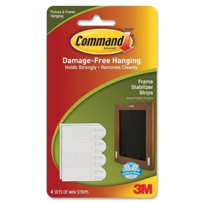 3M MMM17208 Picture Hanging Strips w/Adhes, Stay Straight, 4/PK, White