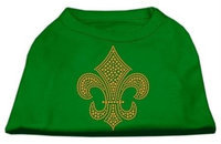 Ahi Gold Fleur de Lis Rhinestone Shirts Emerald Green XXXL (20)