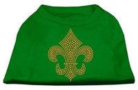 Ahi Gold Fleur de Lis Rhinestone Shirts Emerald Green XS (8)