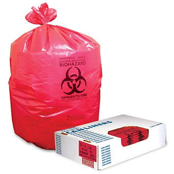 Heritage Healthcare Biohazard Can Liners, 44 Gallons, 37in. x 50in, 1.3 Mil, Red, Box Of 150
