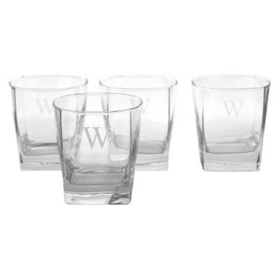 Cathy's Concepts Personalized Monogram Whiskey Glass Set of 4 - W