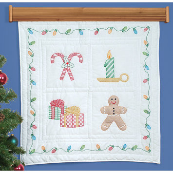 Jack Dempsey Inc. Jack Dempsey Christmas Window Stamped White Wall Or Lap Quilt, 36