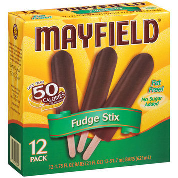Mayfield No Sugar Added Fudge Stix Ice Cream Bars, 1.75 fl oz, 12 count