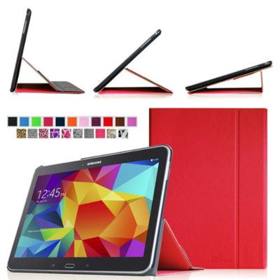 Fintie Smart Book Cover Case Supports Three Viewing Angles for Samsung Galaxy Tab 4 10.1 inch tablet, Red