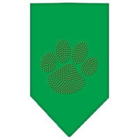 Mirage Pet Products 6758 LGEG Paw Orange Rhinestone Bandana Emerald Green Large