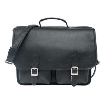 Piel Leather Portfolio Padded Laptop Compartment in Black