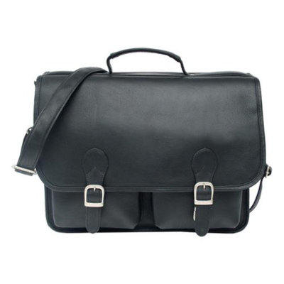 Piel Leather Portfolio Padded Laptop Compartment in Black