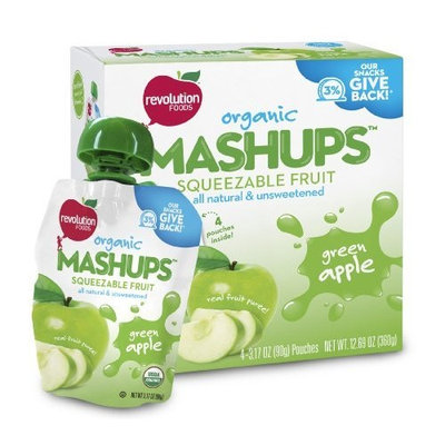 Revolution Foods Organic Mashups Squeezable Fruit, Green Apple, 3.17 Oz, 4-Count Mashups (Pack of 4)