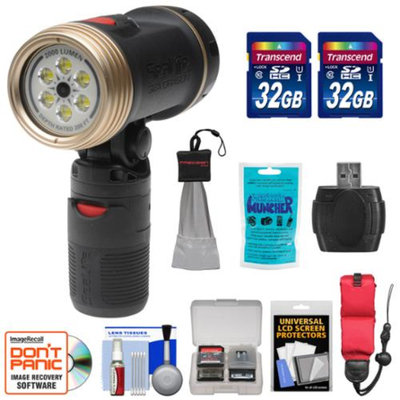 SeaLife SL986 Sea Dragon 2000 Underwater Photo/Video Dive Light with Flex-Connect Handle with (2) 32GB Cards + Floating Starp + Silica Gel + Accessory Kit