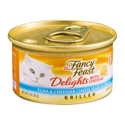 Purina Fancy Feast Delights Tuna & Cheddar Cheese Feast in Gravy Grilled Gourmet Cat Food