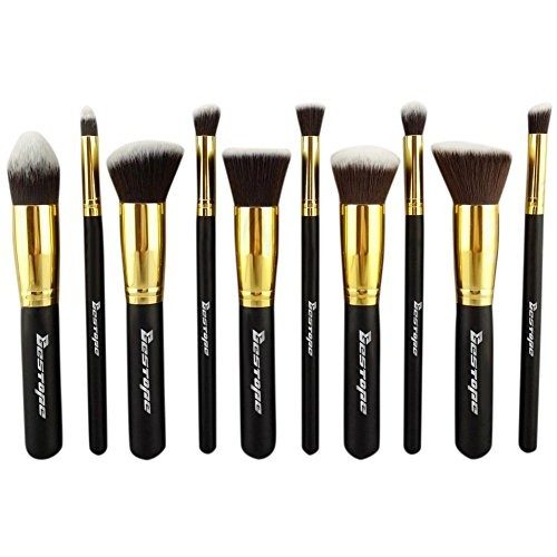 BESTOPE 10PCs Premium Synthetic Kabuki Makeup Brushes Set Cosmetics Foundation Blending Blush Eyeliner Face Powder Brush Makeup Brushes Kit [10PCS Black+G