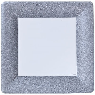 King Zak Ind Lillian Tablesettings 23115 Silver Texture 10 in. Square Plate - 576 Per Case