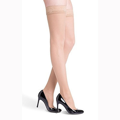 Sigvaris EverSheer 781NLLW33 15-20 Mmhg Closed Toe Large Long Thigh Hosiery For Women Natural