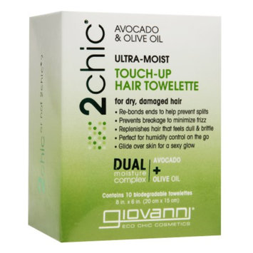 Giovanni 2 Chic Ultra-Moist Touch-Up Hair Towelette for Dry, Damaged Hair, Avocado & Olive Oil, 10 ea