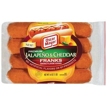 Oscar Mayer Premium Jalapeno & Cheddar Hot Dogs, 16 oz