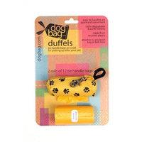 Doggie Walk Bags 2-Roll Duffel -Yellow/Black Paws