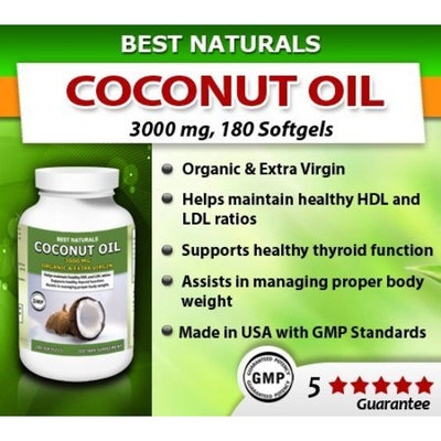 Best Naturals Coconut Oil, Organic & Extra Virgin 3000 Mg, 180 Softgels(pack of 3)