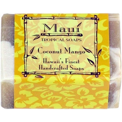 Maui Tropical Soaps Traditional Hawaiian Soap Coconut Mango, 5-Ounce (Pack of 3)