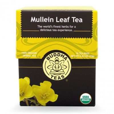 Buddha Teas Mullein Leaf 100 Percent Organic Herbal Tea 18 Bags Per Packet