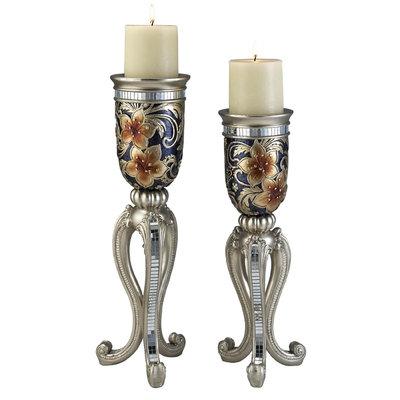 Ore International Sobek Dark Candleholder Set