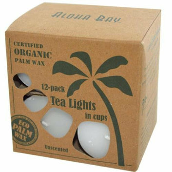 Aloha Bay Palm Wax Tea Lights with Aluminum Holder 12 Candles