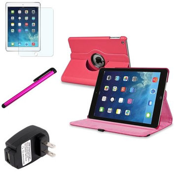 Insten INSTEN Hot Pink 360 Leather Case Cover+Matte Protector/Pen/Wall For Apple iPad Air 5 5th Gen