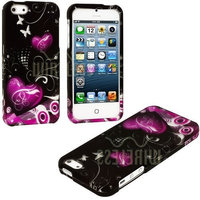 myLife Brand Products myLife Abstract Hearts and Butterflies Series (2 Piece Snap On) Hardshell Plates Case for the iPhone 5/5S (5G) 5th Generation Touch Phone (Clip Fitted Front and Back Solid Cover Case + Rubberized Tough Armor Skin)