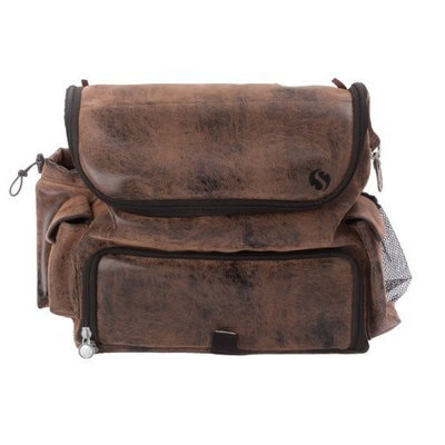 WhodaThought Mrs. Smith's Classic Pack Diaper Bag, Antique Brown Vegan Leather (Discontinued by Manufacturer)