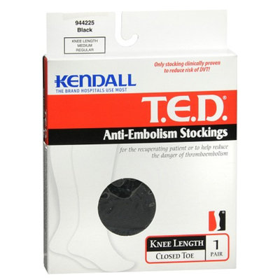 T.E.D. Anti-Embolism Stockings Knee Length Closed Toe Black