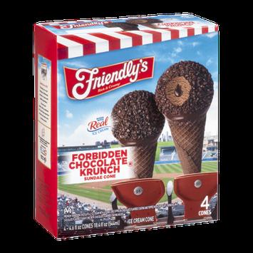 Friendly's Ice Cream Cones Forbidden Chocolate Krunch Sundae Cone - 4 CT