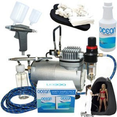 Complete Professional Turbo Tan Airbrush Sunless Tanning System with both a Single-Action Suction Feed Airbrush and a Trigger Style Gravity Feed Airbrush Gun plus a Pint of 8.5% DHA Solution with Medium Bronzer, a 4 Solution Variety Pack (1 Pint Total), a Tanning Tent and an Accessories Kit